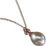 14mm Teardrop Natural FW Pearl Pendant-Rose Gold Fill Blossom CZ Necklace