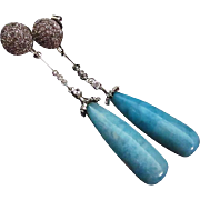 Rare Larimar Drop Briolette-18k White Gold Vermeil-Sterling Silver-CZ-Long Dangle Earrings
