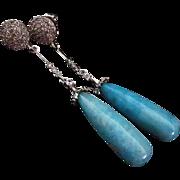Rare Larimar Drop Briolette-18k White Gold Vermeil-Sterling Silver-CZ-Long Dangle Earrings