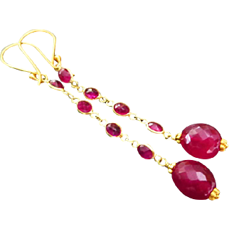 Regal-Natural Ruby-18k Solid Gold-Bezel-Long Dangle-July Birthstone-Red Carpet Earrings
