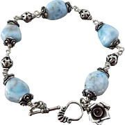 Chunky Larimar-Bali Handmade Sterling Silver-Toggle Bracelet with Rose Floral Charm