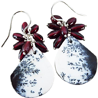 Dendritic Opal-Garnet-Sterling Silver Cluster Dangle Earrings