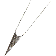 32in-Pave Natural White Topaz-FW Seed Pearls-Arrowhead Spear Pendant-Oxidized Sterling Silver Long Layering Necklace
