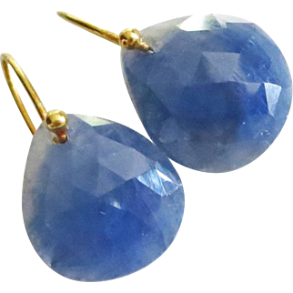 11ct Natural Untreated Blue Sapphire-18k Solid Gold-September Birthstone Minimalist Earrings