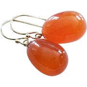 Finest Natural Carnelian Drops-14k Solid Dangle Earrings