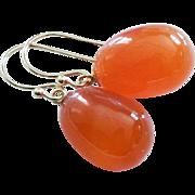 Finest Natural Carnelian Drops-14k Solid Dangle Earrings