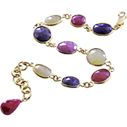 Multi Sapphire-Ruby-Blue Sapphire-Yellow Sapphire-18k Gold Vermeil Adjustable Bracelet with Charm-September July Birthstone Bracelet