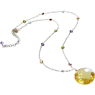 IF Clarity 29.7ct Lemon Quartz Pendant-Multi Gems-Sterling Silver Necklace-Blue Topaz-Peridot-Garnet-Amethyst-Citrine Adjustable Necklace