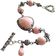 Natural Pink Opal-Pave Diamond-Bali Handmade Silver Toggle Bracelet with Charm