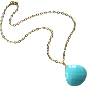 14k-Huge 28ct Blue Peruvian Opal Pendant-14k Gold Necklace