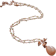 Chatoyant Peach Moonstone-Fresh Water Pearls-Blossom-Rose Gold Pendant Adjustable Necklace