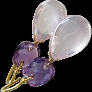 18K Madagascar Rose Pink Quartz-Amethyst Cushions-18k Solid Gold Earrings-One Of A Kind