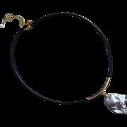 Huge-28mm Baroque Blister Fresh Water Pearl Pendant-Black Leather-14k Gold Fill Adjustable Necklace