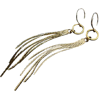 Alluring Long Tassel 14k Gold Fill GP Long Swingers Dangle Earrings