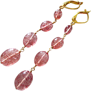Gem Grade Natural Strawberry Quartz-Lepidocrosite in Quartz-27ct-4 Tier Long Dangle Gold Fill Leverback Earrings