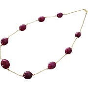 "200ct All Natural Ruby-14k Solid Gold 18"" Necklace-July Birthstone Necklace"