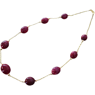 """200ct All Natural Ruby-14k Solid Gold 18"""" Necklace-July Birthstone Necklace"""