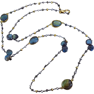 """36"""" Fire Labradorite-Pyrite-Mixed Metals-Oxidized Silver-Gold Fill-Long Layering Necklace-Multi Strand Bracelet"""