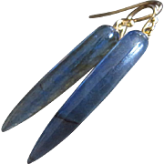14k Blue Fire Labradorite Tapers-14k Solid Yellow Gold Contemporary Minimalist Earrings