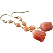 Vintage Salmon Coral Rose Roses-Long Dangle 14k Gold Fill Earrings