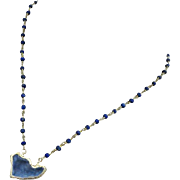 Stardust-Natural Blue Druzy Drusy Geode Pendant-Denim Blue Lapis Lazuli-Gold Vermeil Adjustable Necklace