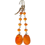 Finest Natural Carnelian Long Drops-14k Solid Leverback Orange Dangle Earrings