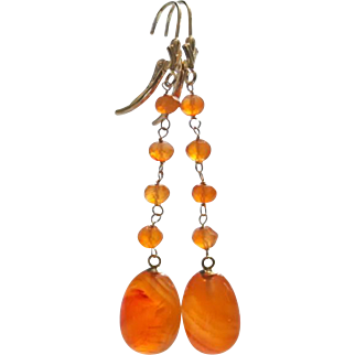 Finest Natural Carnelian Long Drops-14k Solid Leverback Orange Dangle Earrings
