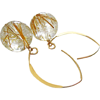 13mm Rutilated Quartz Orbs-Venus Hair Quartz-14k Gold Fill Contemporary Hoop Earrings