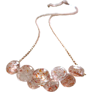 Exceptional Sunstone-Feldspar-Mettalic Glitter-Cluster Onion Briolette 14k Rose Gold Fill Choker Adjustable Necklace
