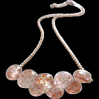 Exceptional Sunstone-Feldspar-Mettalic Glitter-Cluster Onion Briolette 14k Rose Gold Fill Choker Adjustable Necklace