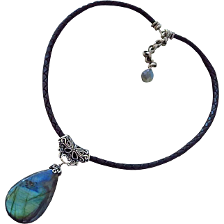 Outstanding Blue Green Fire Labradorite Pendant-Bali Silver-European Braided Leather Necklace-Sterling Silver Adjustable Necklace with Charm