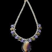 14k-Ametrine Pendant-Multi Gems-Amethyst-Smoky Quartz-London Blue Topaz-14k Charm Fringe Pendant Necklace