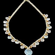 14k-Blue Topaz Pendant-Multi Gems-Green Amethyst-Rose Quartz-Citrine-14k Gold Charm Necklace