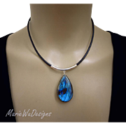 Outstanding Blue Fire Labradorite Pendant-Sterling Silver-European Leather- Unisex Adjustable Necklace with Charm
