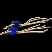 Lapis Lazuli-Denim Blue-Tassel-Gold Vermeil-Gold Plate-Long Dangle Earrings