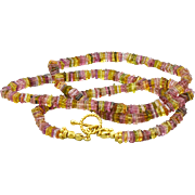 "58ct Multi Tourmaline-Pink Gold Tourmaline Heishi-Gold Vermeil Simply Elegant Toggle 19"" Unisex Necklace"