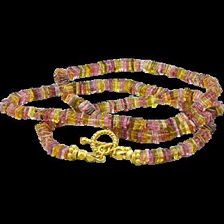 "58ct Multi Tourmaline-Pink Gold Tourmaline Heishi-Gold Vermeil Simply Elegant Toggle 19"" Unisex Necklace"