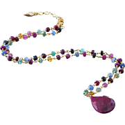 Emerald-Ruby-Blue Pink Yellow Orange Sapphire-Precious Gems--17ct Ruby Pendant Adjustable Vermeil Necklace