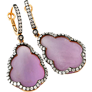 Diamond-14k Rose Gold-Frosted Amethyst-Dangle Earrings-February Birthstone