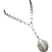 1881 Antique Victorian Sterling Silver Book Chain Collar Bookchain-Full English Hallmarks Locket Pendant Necklace