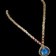 Fire Labradorite-Garnet-18k Gold Vermeil Pendant Adjustable Necklace