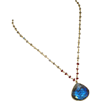Fire Labradorite-Garnet-18k Gold Vermeil Pendant Adjustable Necklace