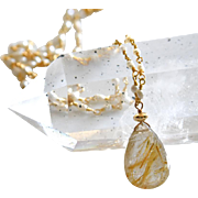 14K-Golden Rutilated Quartz-Venus Hair-Fresh Water Seed Pearl Gold Vermeil Gold Fill Necklace