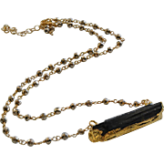Raw Black Tourmaline-Pyrite Gold Fill Adjustable Necklace