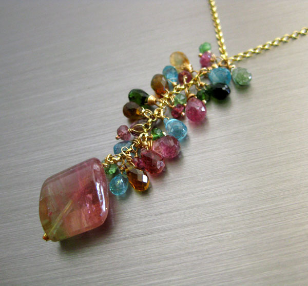 Magnificent~Natural BiColor Pink Green Tourmaline 18ct Pendant~Paraiba Blue Tourmaline~Tsavorite~14k Solid Gold Cascading Necklace~