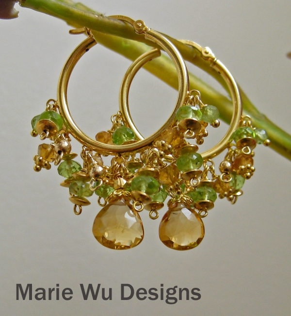 Natural Citrine~Peridot~24k Gold Vermeil Hoop Earrings~