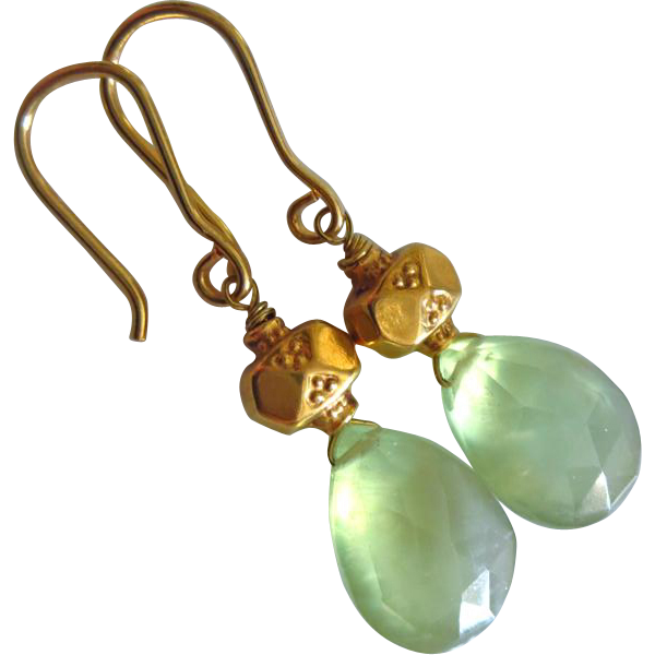 Glow-Natural Gem Prehnite-Solid 18k 20k Gold Dangle Earrings~