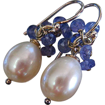 Tanzanite Fringe-Lustrous 10mm Fresh Water Pearl-Sterling Silver Earrings~