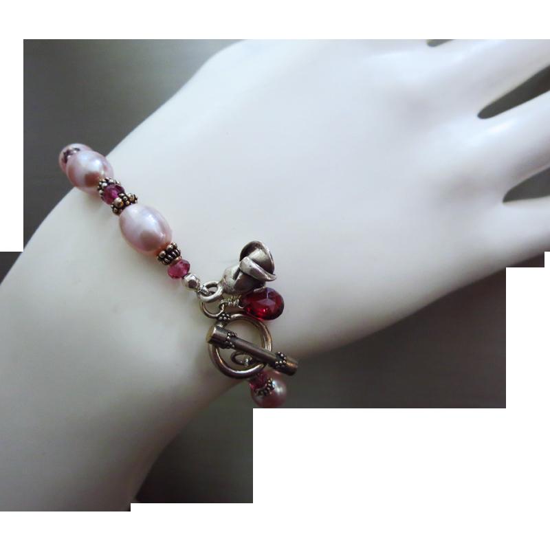 Gem Rhodolite Garnet-Rosy Fresh Water Pearls-Bali Handmade Silver Toggle Bracelet-Blossom Charms