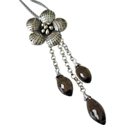 Blossom Karen Silver Pendant~Smokey Quartz Puff Marquise Cascade~Sterling Silver Necklace~